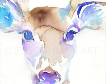 Buck Watercolor Painting Print, Deer Painting, Print of Deer, Nursery Art, Watercolor Art, Watercolor Print, Deer Print, Antlers Painting