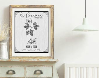 French Cottage Style Seed Packet Printable - Anemone