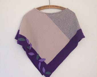 Falling leaf poncho // cashmere lambswool upcycled wool // small womens teen UK seller