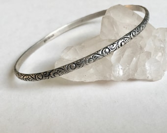 vintage sterling scrollwork bangle, small size