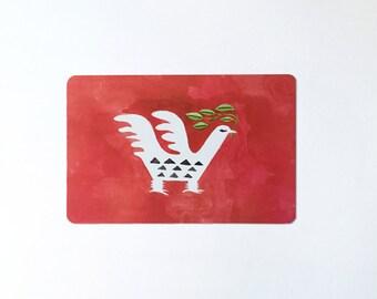 Folk bird red postcard