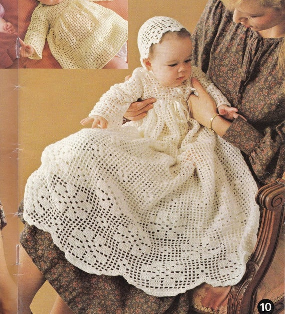 Christening Gown Crochet Pattern Instant Download Baptism Dress Baby ...