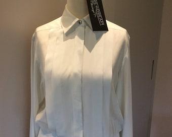 Vintage 1990s Windsmoor white 'tuxedo' blouse UK size 10