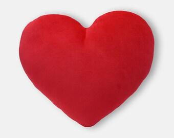 Scarlet Red Velvet Heart Shaped Decorative Pillow - Mini Size