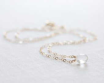 Crystal quartz necklace, April birthstone necklace, Clear quartz on gold or silver chain, Tiny gemstone necklace, Tiny crystal necklace