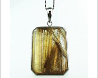 EP010402) Gold Rutilated Quartz Pendant, 925 Silver, Octagon Shape