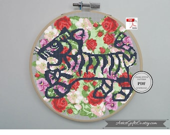 Floral tiger Counted Cross Stitch PDF Year of the Tiger Cross Stitch Chinese Zodiac XStitch Flower tiger Floral animal Chinese zodiac Tiger