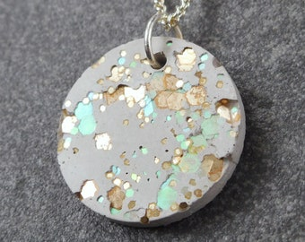 Gold and green concrete necklace / cement, concrete gold, cement jewelry, green necklace, concrete jewelry, concrete necklace, architect