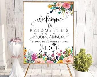Floral Welcome Bridal Shower Sign, Bridal Shower Welcome Decor Sign, Printable Bridal Shower bachelorette party wedding sign