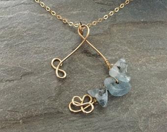 Aquamarine Wish Gold Necklace (Small)