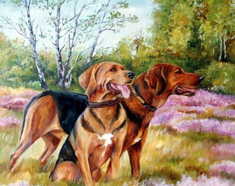 Custom Dog portrait Large realistic Scenic DOG PORTRAIT Hand painted from photos Oil painting Personalised  memorial Scenic forest landscape