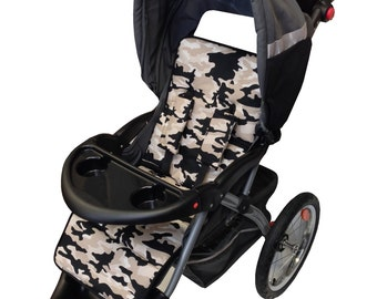 Gray Camo Stroller Liner-Reversible to Black Minky