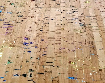 NATURAL RAINBOW Cork Fabric - finest available, Made in Portugal - Choose a Size - textile quality, natural color (USA seller)