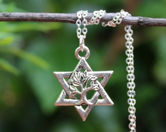 Star of David.Tree of Life Pendant Necklace.Sterling Silver Chain.Metal plated in sterling silver.Judaica.Hanukkah.Bat-Mitzvah.Handmade.