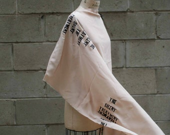 silk scarf leather,  the silent treatment, hand printed , scarves