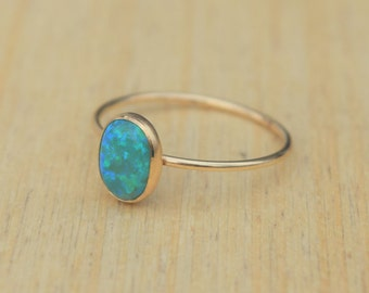 Green Opal Ring, Gold Opal Ring, Delicate Gold Ring, Stacking Ring, Stacking Opal Ring, Gold Filled Ring