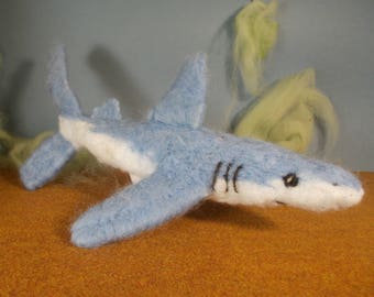 needle felted blue shark
