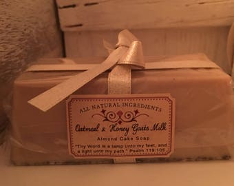 2 Almond honey oatmeal goats milk soap bars