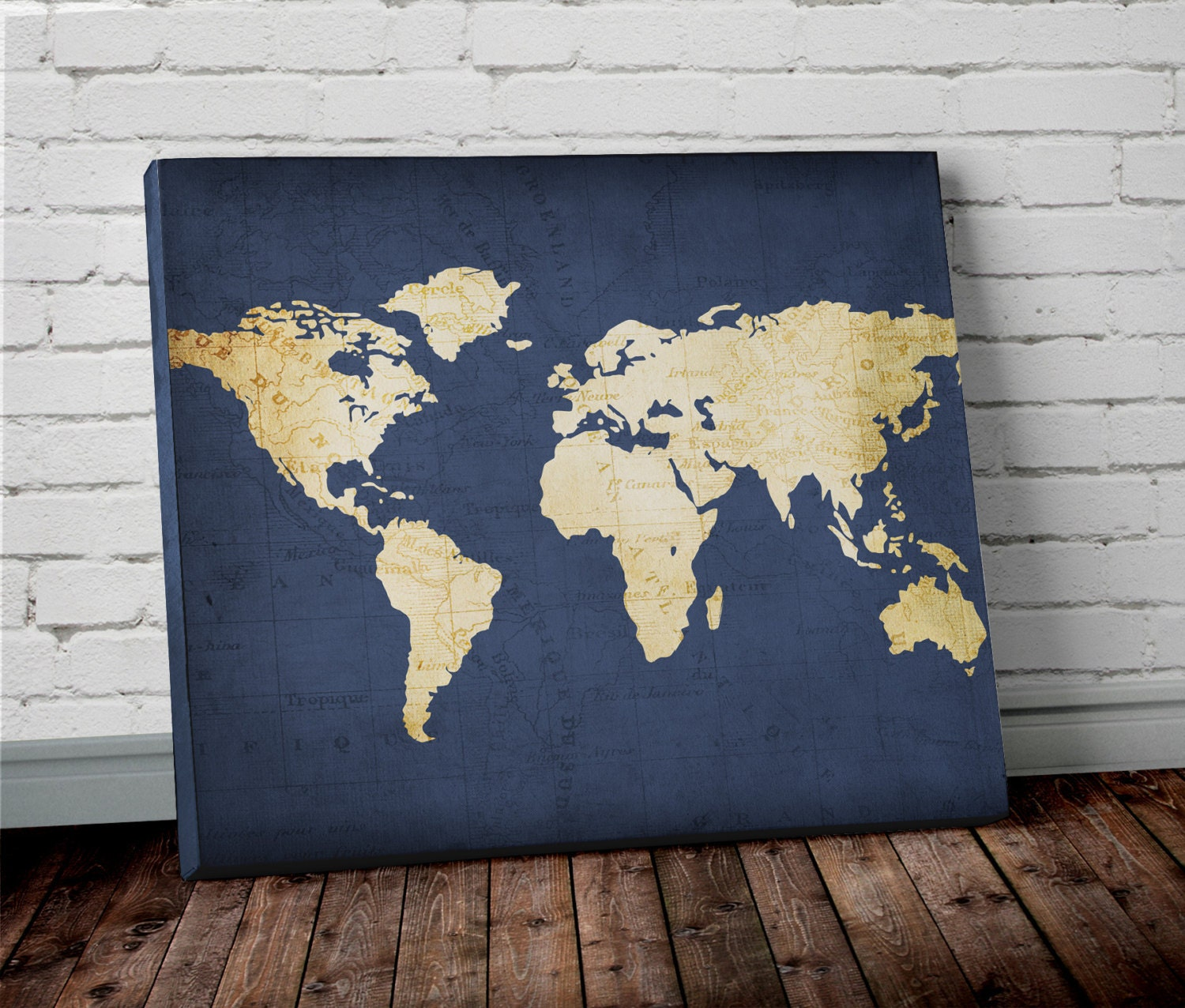 Navy WORLD MAP Wall ART Canvas World Map Print In Navy Blue - World map canvas
