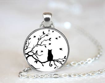 Cat Silhouette Pendant Necklace #1805 Made to Order One Inch Glass Pendant