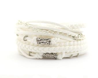 White Silver Wrap Bracelet, Bohemian Wedding Bracelet, Boho Gypsy Bracelet, Hippie Jewelry, vegan bracelet, gift for mam
