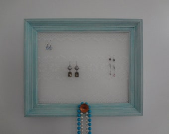 Up-Cycled Vintage Frame Lace Earring Holder-Jewelry Holder