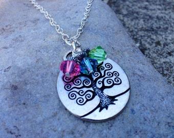 Family Necklace Tree of Life Birthstone Necklace-  Gift for Mom, Grandma, sterling silver, swarovski crystal