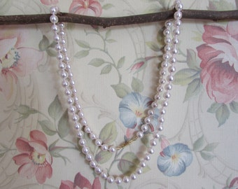 Simulated Light Rose Pink Pearl Necklace