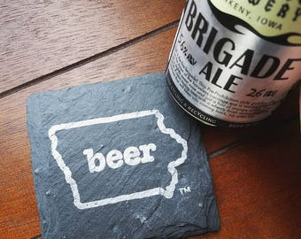 READY TO SHIP Iowa Craft Beer Tent Slate Coasters - Mancave, Garage, Fathers Day, Beer Lover, Mens Gift, Valentine's Day