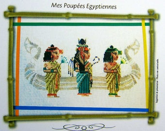 My Egyptian Dolls – a lovely counted cross stitch chart with 3 Egyptian dolls and a boat in the background. Chart, key in English or French.
