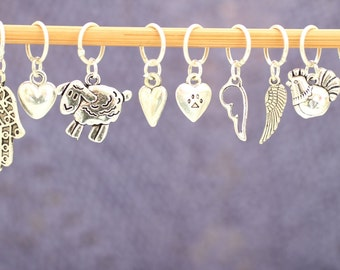 Do-It-Yourself Five Charm Stitch Marker Set, Knitting Tools, Gift for Knitters, Crochet Tools, Gift for Crocheters