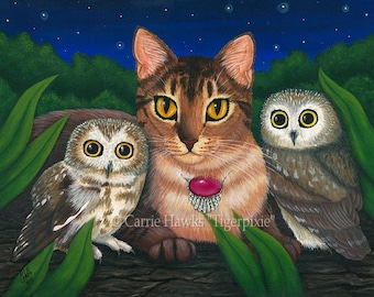 Cat Owls Art Saw Whet Owl Abyssinian Cat Fantasy Cat Art ACEO / ATC Mini Print Cat Lover Gift
