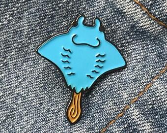 Iced Manta Ray enamel lapel pin