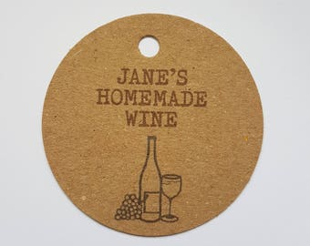 10x Personalised Homemade wine tags, handmade tags, bottle tags, homemade wine tags, homemade wine, swing tag, wine labels, home brew tags