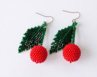 Red cherry earrings, gorgeous scarlet red berries, handmade seed beaded berry earrings for pierced ears, pom pom ear wires 6cm
