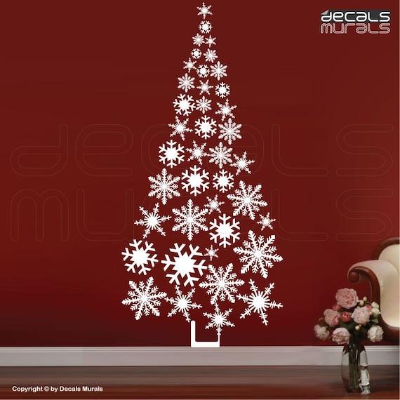 Wall decals SNOWFLAKES CHRISTMAS TREE holiday vinyl art