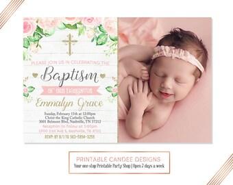 Gold Pink Floral Baptism Invitation, Baby Girl Baptism Invitation, Christening  Invitation, Shabby Baptism