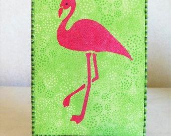 Pink Flamingo Fabric Postcard