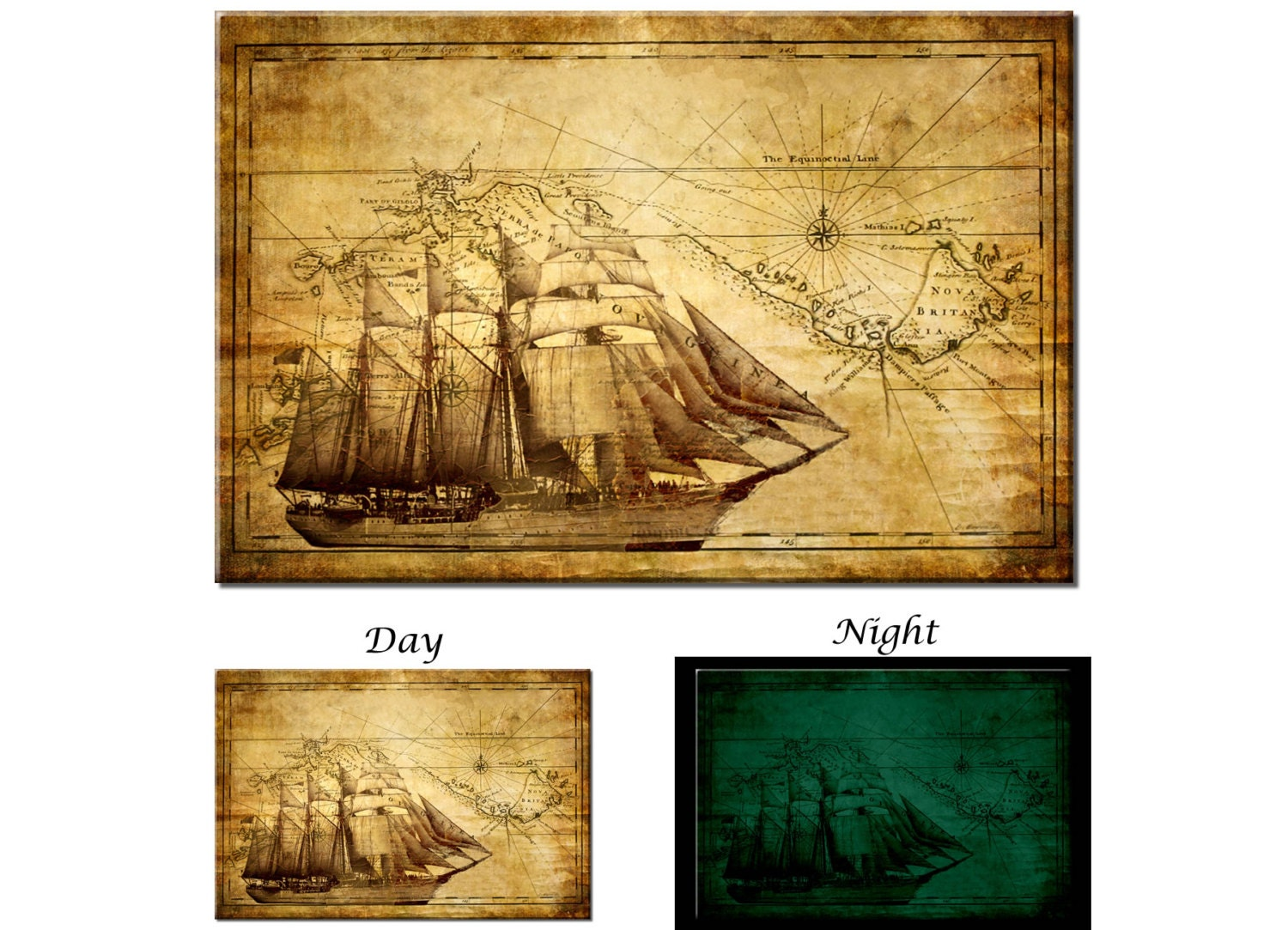 Glow in the Dark Canvas Wall Art Adventure Ocean Sailing