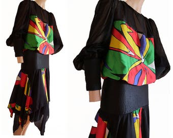 Vintage 80s wearable Art Dress Asymmetrical handkerchief Hem SZ 12 Balloon LS abstract print