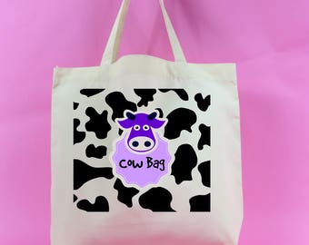 cow bag, animal lover, farmer, Large Shopping Tote Bag~cow bag tote~