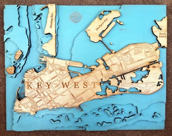 "LASER ENGRAVED MAP - Key West, Florida. (16"" x 20"")"