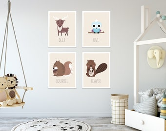 Forest Nursery Decor, Set of 4 11x14 Unframed Prints, Boho Decor, Forest Nursery,  Gender Neutral Posters, Owl, Deer, Beaver, Squirrel
