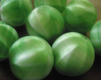 Vintage Glass Beads (4)(14mm) Lime Matt Ribbed German Focal Beads
