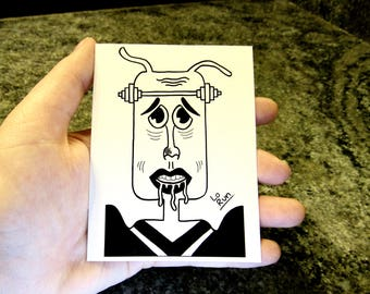 Jubo. sticker-abstract face drawing-black+white-modern art-illustration-ink