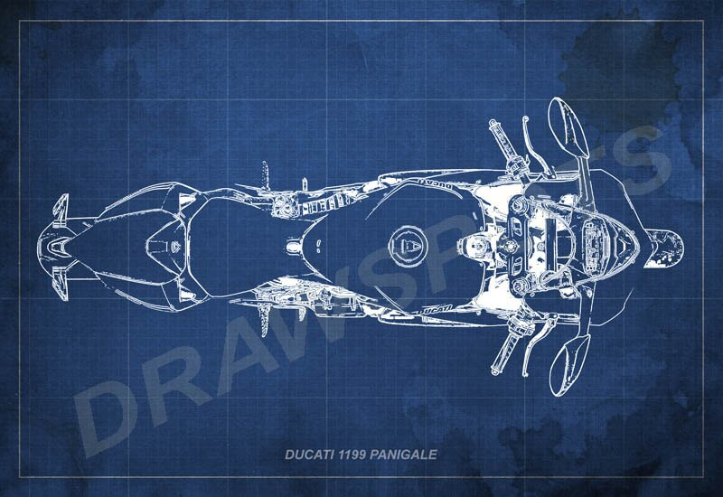 Ducati 1199 panigale blueprint art print 8x12in to 60x41in zoom malvernweather Images