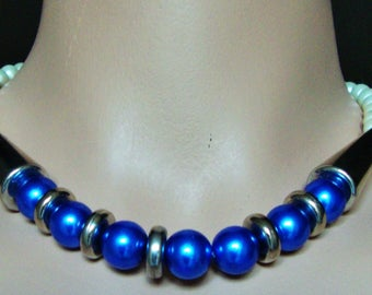 """NECKLACE BLUE Pearl Vintage 80s Simulated Beads Silver Cone White Pearls Single Strand Costume Jewelry Retro Fashion Choker 17""""+ Extender"""