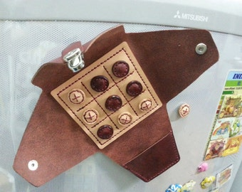 Handmade leather magnet tic tac toe game,  BURGUNDY RED veg tan oiled leather travel game, desk game, elegant stylish leather game