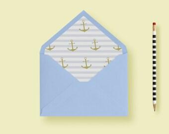 Nautical Envelope Liner Striped Envelope Liner, A7 Envelope Liner, Euro Flap, Anchor, Stripes, Printable Envelope Liners DIY or Printed