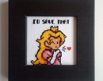 """Mario Princess Peach """"I'd save that"""" Cross stitch framed picture"""